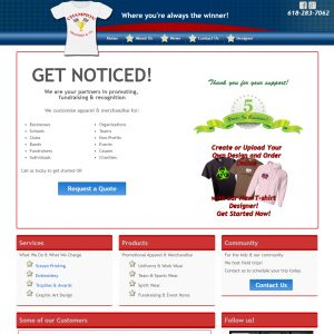 promotional apparel website on Wordpress